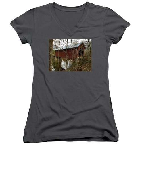 Bean Blossom Bridge Women's V-Neck T-Shirt