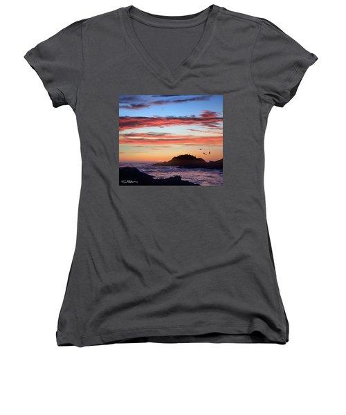 Bean Hollow Beach Women's V-Neck T-Shirt (Junior Cut) by Tim Fitzharris