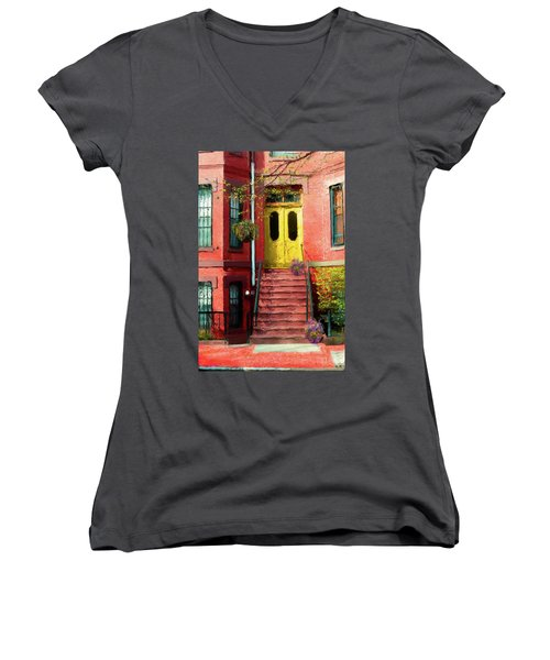 Beantown Brownstone With Yellow Doors Women's V-Neck (Athletic Fit)