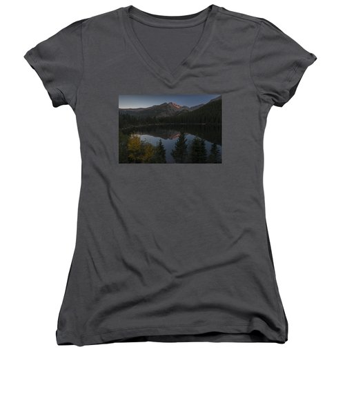 Bear Lake Women's V-Neck T-Shirt (Junior Cut) by Gary Lengyel