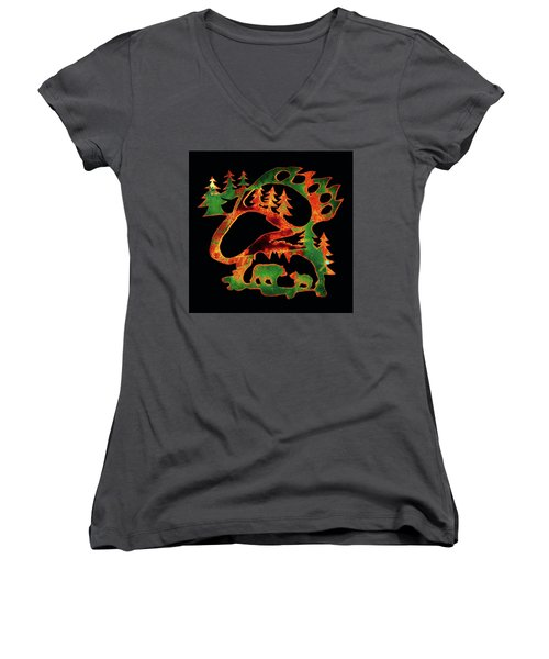 Emerald Bear Paw  Women's V-Neck T-Shirt (Junior Cut) by Larry Campbell