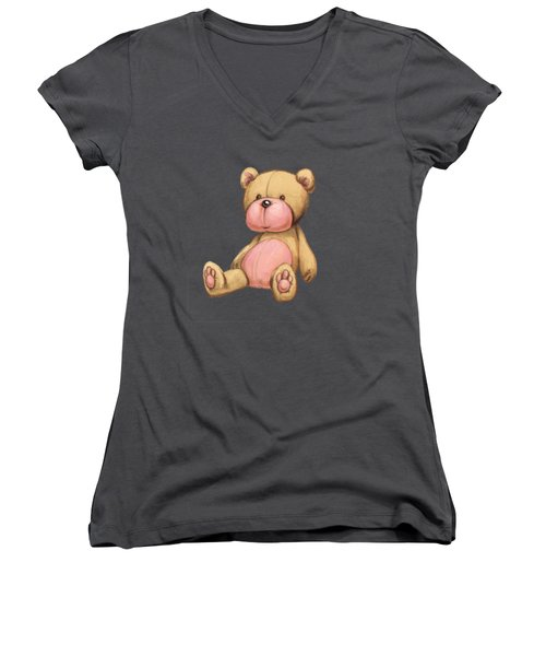 Bear Pink Women's V-Neck T-Shirt (Junior Cut) by Andy Catling