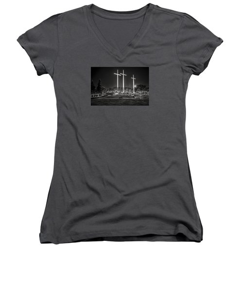 Women's V-Neck T-Shirt (Junior Cut) featuring the photograph Bearing Witness In Black-and-white 2 by Andy Crawford