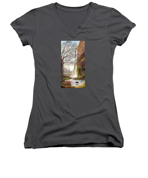 Bears At Waterfall Women's V-Neck T-Shirt (Junior Cut) by Myrna Walsh