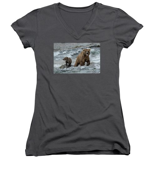 Bears Being Watchful  Women's V-Neck