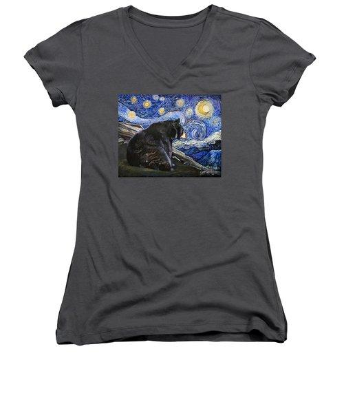 Beary Starry Nights Women's V-Neck T-Shirt (Junior Cut) by J W Baker