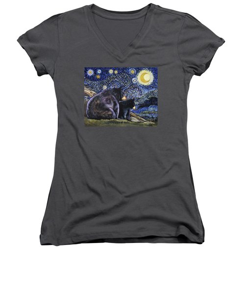 Beary Starry Nights Too Women's V-Neck