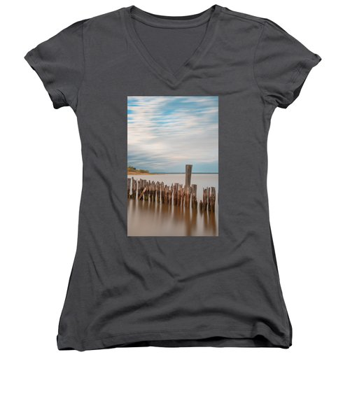 Beautiful Aging Pilings In Keyport Women's V-Neck T-Shirt