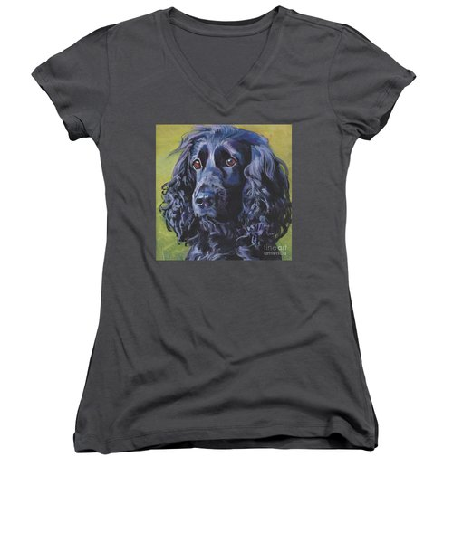Women's V-Neck T-Shirt (Junior Cut) featuring the painting Beautiful Black English Cocker Spaniel by Lee Ann Shepard