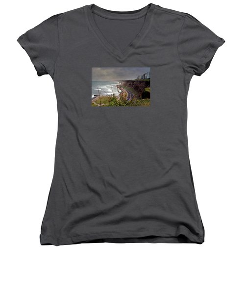 Beautiful Coastline Of Lima Women's V-Neck (Athletic Fit)