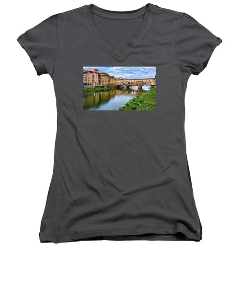 Ponte Vecchio On A Spring Day In Florence, Italy Women's V-Neck