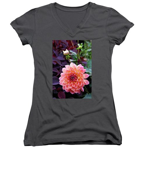 Beautiful Dahlia Women's V-Neck (Athletic Fit)