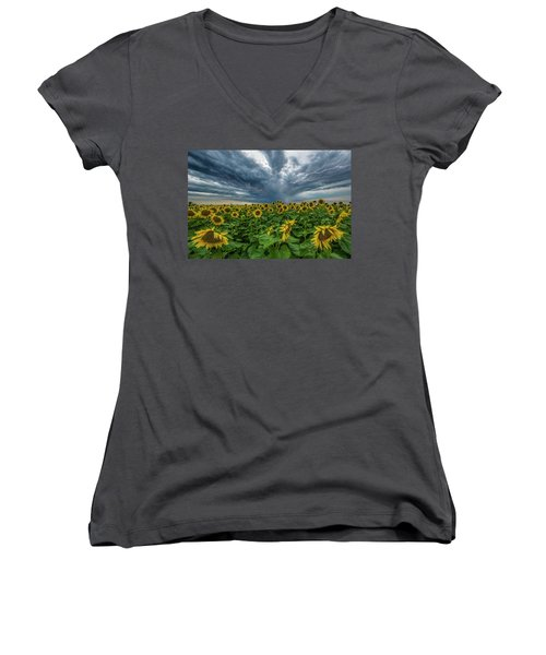 Women's V-Neck T-Shirt (Junior Cut) featuring the photograph Beautiful Disaster  by Aaron J Groen