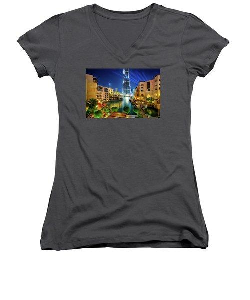 Beautiful Downtown Area In Dubai At Night, Dubai, United Arab Emirates Women's V-Neck T-Shirt