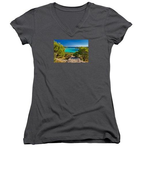 Beautiful Emerald Beach On Murter Island Women's V-Neck T-Shirt