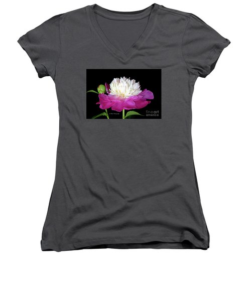 Beautiful Fancy Peony Women's V-Neck (Athletic Fit)