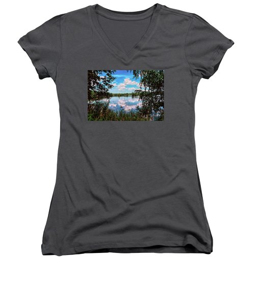 beautiful forest lake in Sunny summer day Women's V-Neck T-Shirt