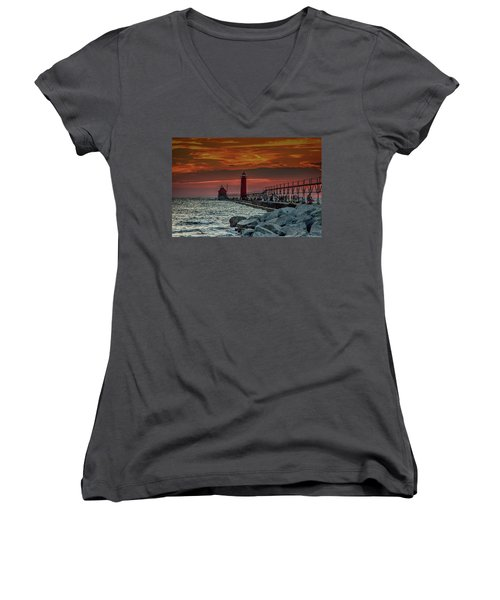 Sunset At Grand Haven Pier Women's V-Neck (Athletic Fit)