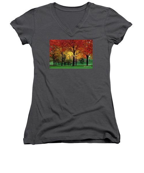 Beautiful Light At The Park In St. Louis In Autumn Women's V-Neck T-Shirt (Junior Cut) by Wernher Krutein