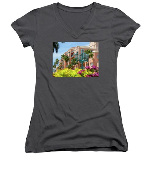 Beautiful Mizner Park In Boca Raton, Florida. #9 Women's V-Neck (Athletic Fit)