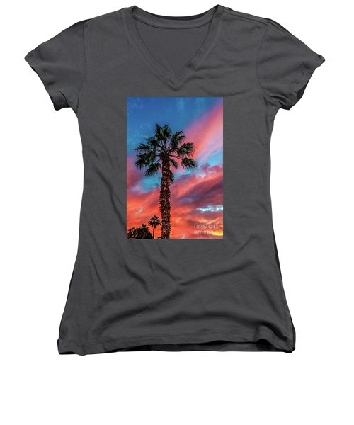 Beautiful Palm Tree Women's V-Neck T-Shirt (Junior Cut) by Robert Bales
