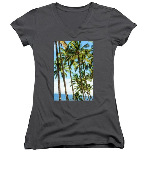 Women's V-Neck T-Shirt (Junior Cut) featuring the photograph Beautiful Palms Of Maui 16 by Micah May