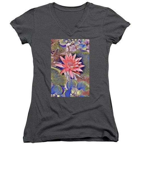 Beautiful Pink Lotus Abstract Women's V-Neck