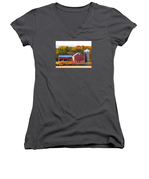 Beautiful Red Barn 2 Women's V-Neck T-Shirt (Junior Cut) by Lanjee Chee