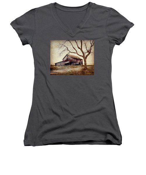 Beautiful Red Barn-near Ogden Women's V-Neck T-Shirt (Junior Cut) by Kathy M Krause