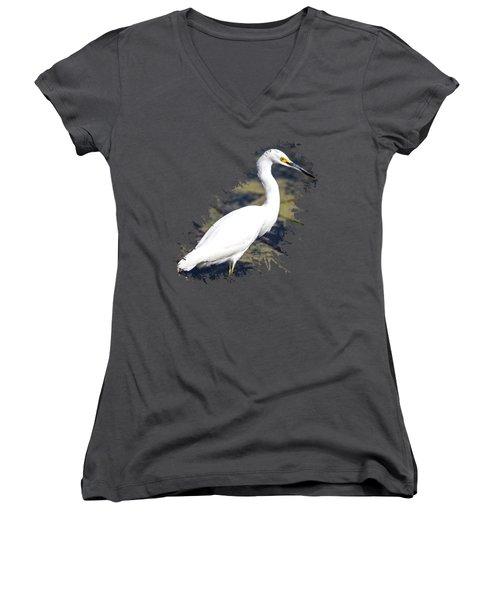 Beautiful Snowy Egret Women's V-Neck