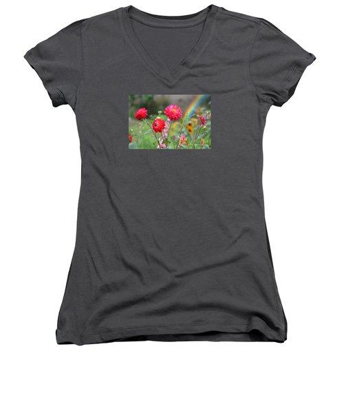 Beautiful Summer Flowers Women's V-Neck T-Shirt (Junior Cut) by Jim Fitzpatrick