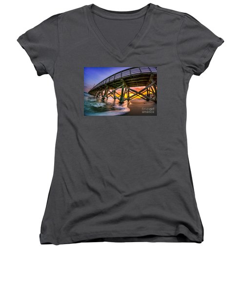 Beautiful Sunset In Myrtle Beach Women's V-Neck (Athletic Fit)