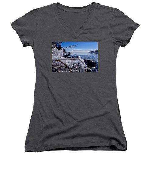 Beautiful Winter Day Women's V-Neck T-Shirt (Junior Cut) by Sandra Updyke
