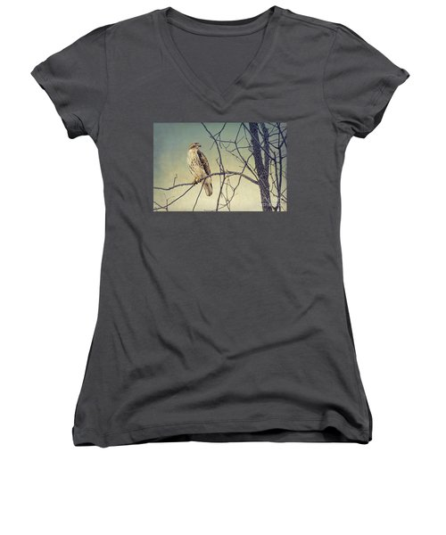 Red-tailed Hawk On Watch Women's V-Neck (Athletic Fit)