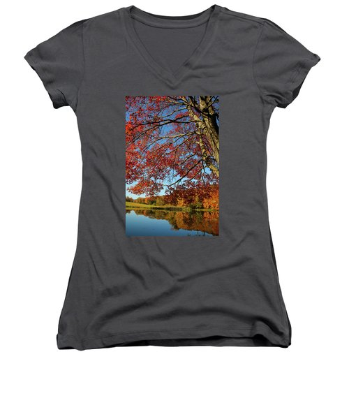 Women's V-Neck T-Shirt (Junior Cut) featuring the photograph Beauty Of Fall by Karol Livote