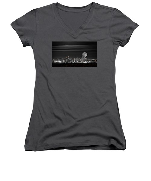 Women's V-Neck T-Shirt (Junior Cut) featuring the photograph Beaver Moonrise In B And W by Kristal Kraft