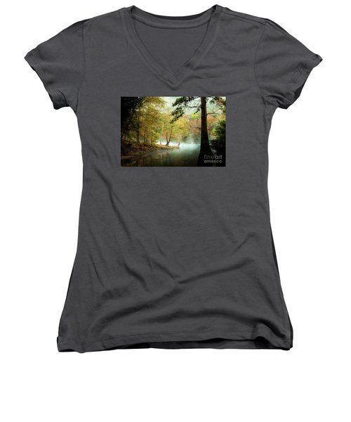 Beavers Bend Creek In Fall Women's V-Neck T-Shirt