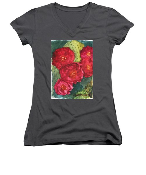 Women's V-Neck T-Shirt (Junior Cut) featuring the painting Beavertail Cactus by Eric Samuelson