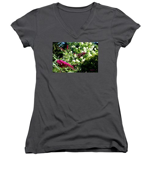 Women's V-Neck T-Shirt featuring the photograph Beckoning Butterfly Bush by Hanne Lore Koehler