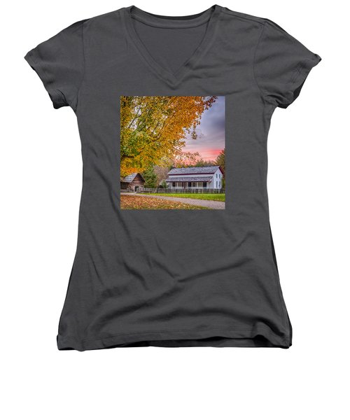 Women's V-Neck T-Shirt (Junior Cut) featuring the photograph Becky Cabel House by Tyson and Kathy Smith
