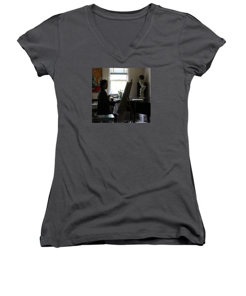 Becky Painting Chopin Women's V-Neck T-Shirt (Junior Cut) by Becky Kim