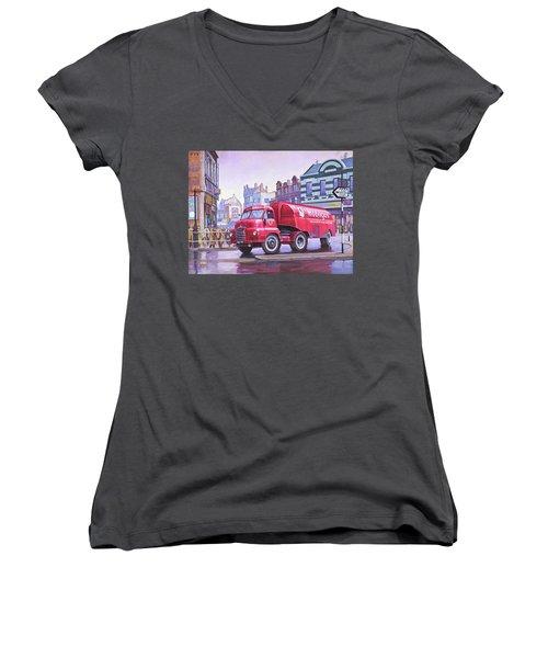 Bedford S Type Tanker. Women's V-Neck T-Shirt