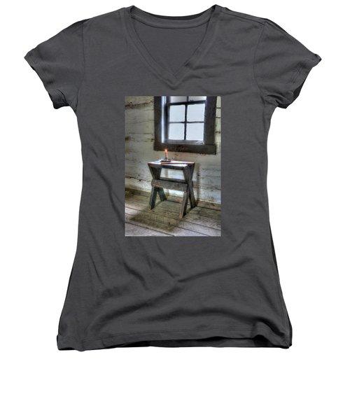 Bedford Village 2 Women's V-Neck T-Shirt (Junior Cut) by Sharon Batdorf