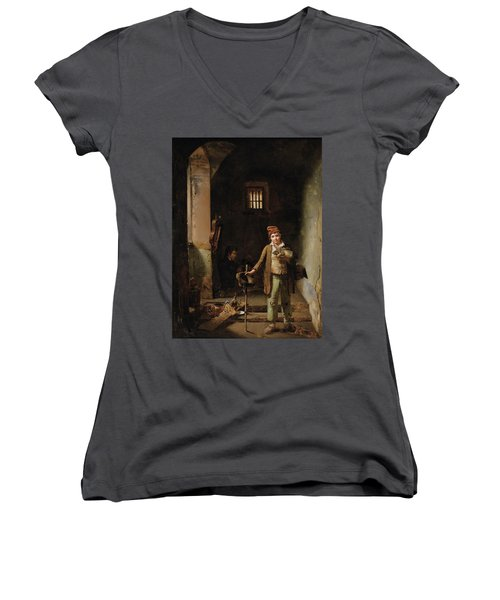 Bedroom Or The Little Groundhog Shower Women's V-Neck T-Shirt (Junior Cut) by MotionAge Designs