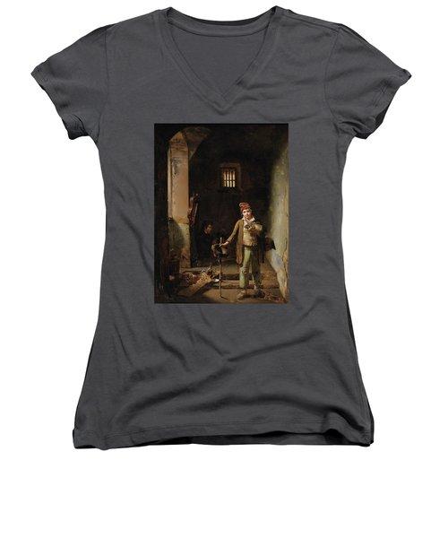 Bedroom Or The Little Groundhog Shower Women's V-Neck T-Shirt (Junior Cut)