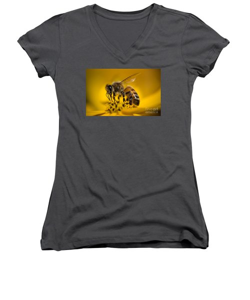 Bee Enjoys Collecting Pollen From Yellow Coreopsis Women's V-Neck