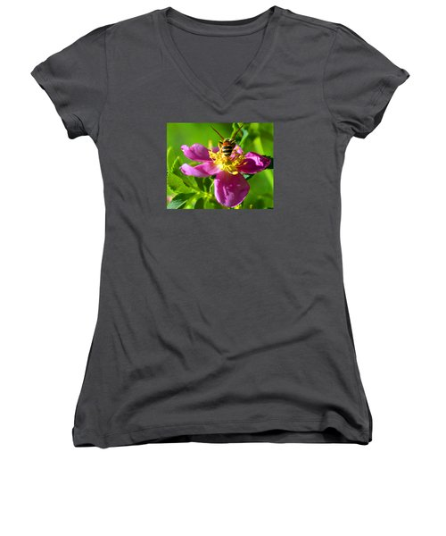 Women's V-Neck T-Shirt (Junior Cut) featuring the photograph Bee Here Now by Susanne Still
