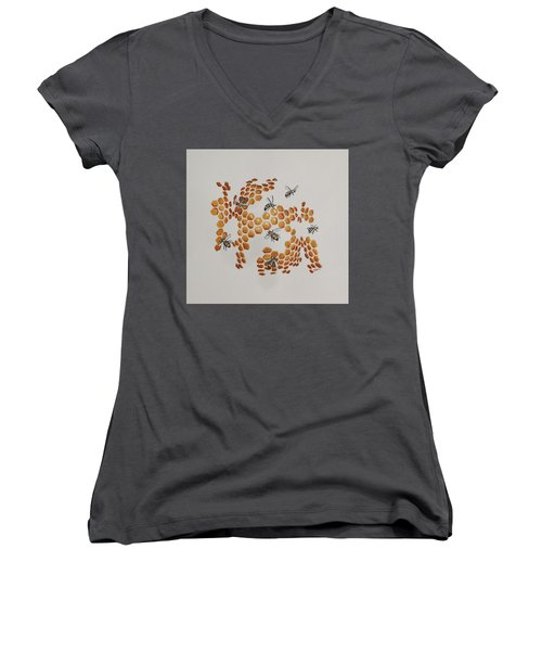 Women's V-Neck T-Shirt (Junior Cut) featuring the painting Bee Hive # 2 by Katherine Young-Beck