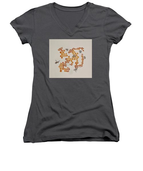 Women's V-Neck T-Shirt (Junior Cut) featuring the painting Bee Hive # 3 by Katherine Young-Beck