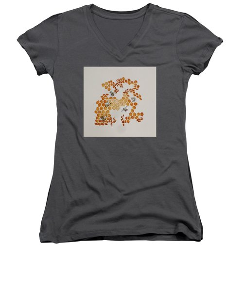 Women's V-Neck T-Shirt (Junior Cut) featuring the painting Bee Hive # 5 by Katherine Young-Beck